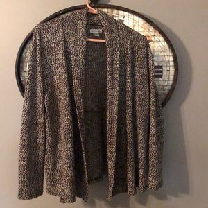 Croft & Barrow L Black + White Patterned Cardigan